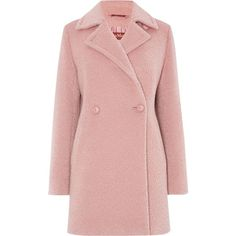 Max Mara Giralda alpaca double breasted coat found on Polyvore featuring outerwear, coats, jackets, pink, women, double-breasted coat, long sleeve coat, maxmara coat, pink coat and alpaca coat