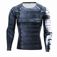 56c8dd1020f8 GearKong - Premium Gear Winter Soldier Long Sleeve Compression Shirt  shirt   dc  superhero