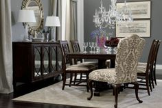 Get dining room decorating ideas from Ethan Allen designers! See how they put traditional and modern dining room sets together. Elegant Dining Room, Dining Room Design, Dining Room Furniture, Dining Rooms, Dark Furniture, Dining Room Inspiration, Home Decor Inspiration, Ethan Allen Dining, Deco Design