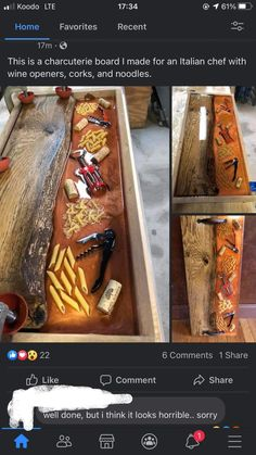 This abomination I found in a charcuterie group- ThorGift.com - If you like it please buy some from ThorGift.com Italian Chef, Charcuterie Board, Things To Think About, Instruments, Group, Musical Instruments, Tools