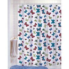 PVC Free (PEVA) Printed Shower Curtain, Butterflies Print, 70x72, Carli