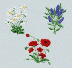 sweet little flowers. using embroidery.. haist my handicraft.