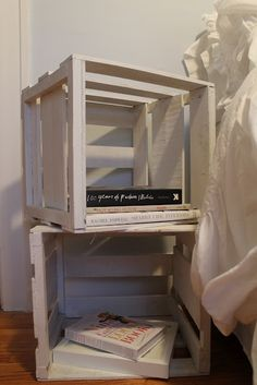 repainted crates as side table or bookcase. easy idea