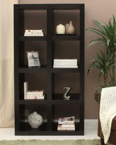 Modern Dark Wood Bookcase - Large This large eight shelf bookcase is a  contemporary piece that
