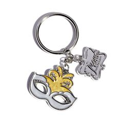 Mask and Charm Key Chain--Great gift for your Masquerade Prom attendees! Mardi Gras Prom Favors