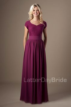 Modest Bridesmaid Dresses : June. Available at Latterday Bride. See more at latterdaybride.com