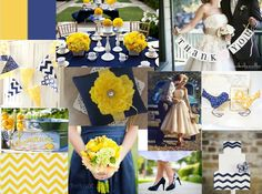 Navy, Yellow Wedding Color Scheme. Chevron and vintage prints add some whimsy