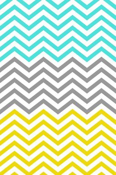 mint, gray and yellow chevron wallpaper