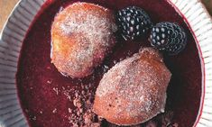 Feast on this: exclusive recipes from Yotam Ottolenghi's new book. This week: fish, meat and puddings - Ricotta fritters with blackberry sauce and chocolate soil Blackberry Dessert, Blackberry Sauce, Ottolenghi Recipes, Yotam Ottolenghi, Salsa Morita, Chocolate Soil, Ricotta Dessert, Ricotta Fritters, Arabic Food