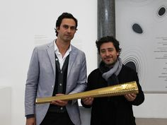 Edward Barber and Jay Osgerby of Barber Osgerby with their 2012 Olympic Torch.