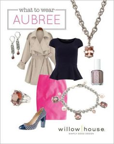 Fall in LOVE with this classic yet hip look! Neutrals w/pop of color, pencil skirt w/trench, peplum top. Let HER fall in LOVE with our Aubree collection. Choose the necklace (chain made in America--collection hand crafted in Bali) & get the earrings 50% off!   Love the charm bracelet? Get the show stopper ring at 50% off. (other combo's apply--just ask)!! www.staceyeverett.willowhouse.com