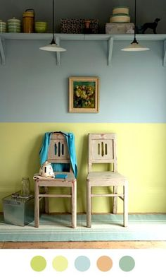 two tone walls Decor, Room, Small Spaces, Interior, Interior Inspiration, Home, Half Painted Walls, Room Inspiration, Inexpensive Chairs