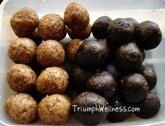 Healthy Brownie and Peanut Butter Oat Balls!  No sugar, no flour
