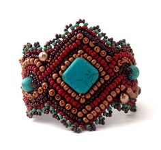 BEAD EMBROIDERED cuff BRACELET winter fashion warm colors by ibics, $112.00