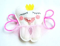 Girl Tooth Fairy pillow wool felt for girls by PrettyFeltThings, $15.00 #tooth #fairy #pillow #felt