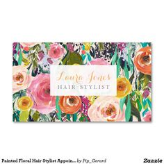 Painted Floral Hair Stylist Appointment Cards Double-Sided Standard Business Cards (Pack Of 100)