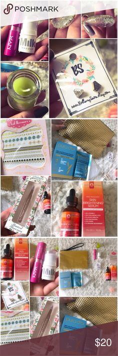 🔥🔥HOT BUNDLE🔥🔥 Huge Lot Jewelry Makeup Bag Deep conditioning mask w shower cap, trendy gold studded zipper makeup pouch, mini citronella candle with hidden charm inside, diamond earrings, beautiful detailed teardrop sweater chain necklace, skin brightening serum BRAND NEW, NYX hot pink lip butter gently used, Milk makeup cream highlighter stick, the vintage cosmetic company rose gold tweezers, nail decals, scentsy sample  TAGS ONLY NOT: kate spade classy stylish hot high fashion dainty…