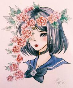 Sailor Saturn in watercolour :)