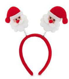 Regalo para Navidad: uno de los imprescindibles de estas fechas es el gorro de Papá Noel, y ahora tenemos las diademas. Fabricada en fieltro de color rojo, llevando en las antenas un papá noel. Prenda navideña ideal para las reuniones familiares y celebraciones de esta fiesta.