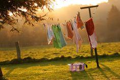 ropa y puesta de sol
