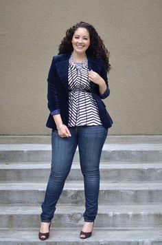 pantalon vaquero - camiseta rayas azul & blanco - blazer azul (talla grande)