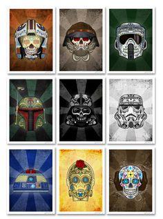 John Karpinskys Star Wars Day of the Dead sugar skull prints on sale at Etsy. Starwars, Dark Vader, Disney Candy, Nave Star Wars, Day Of The Dead Art, Star Wars Day, Star Wars Tattoo, Star Wars Wallpaper, Halloween Prints