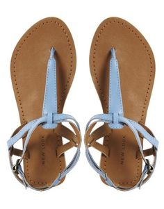 New Look   New Look Blue Gracie Toe Post Flat Sandals at ASOS