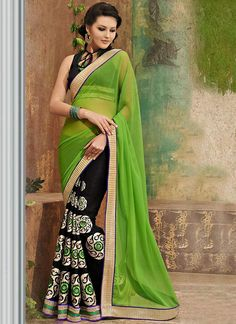 Shop this product from here.. http://www.silkmuseumsurat.in/vibrant-green-and-black-half-and-half-saree?filter_name=4112  Item :#4112 Color	 : Black, Green Fabric	 : Faux Chiffon Occasion	 : Casual, Festival, Party, Reception Style	 : Half n Half Saree Work	 : Embroidered, Patch Border, Printed