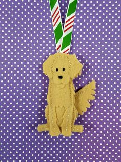 Golden Retriever Felt Dog ornament stocking by ZillyGrilDesigns