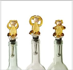 Twos Company Monkey Bottle Stoppers (Set of 3 Asst): The Three Senses set of three assorted monkey bottle stoppers in Twos signature gift box.  Hand-blown glass. Stainless steel.1 3/4