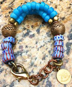 Bakim-Mutum Bracelet: African-Inspired Glass Trade Bead and Brass Bracelet $150