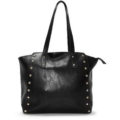 Nasty Gal WANT Stud Your Ground Tote Bag ($40) ❤ liked on Polyvore featuring bags, handbags, tote bags, black, tote handbags, zip tote bag, faux leather tote, vegan tote bags and vegan purses