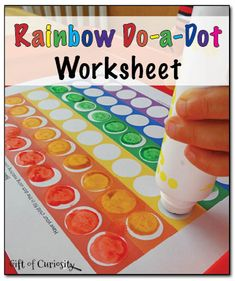 Free printable rainbow do-a-dot worksheet that can be completed using do-a-dot markers, pom poms, or rainbow colored stickers.