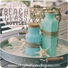 Looking for an easy craft project to do this summer? These DIY beach glass bottles are simple and make beaitfiul additions to any home! Jar Crafts, Bottle Crafts, Diy And Crafts, Bottles And Jars, Glass Bottles, Mason Jars, Patron Bottles, Painted Bottles, Diys
