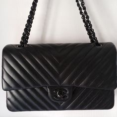 4719cd7d5829 Selling this So Black 2.55 double flap chevron quilted bag in my Poshmark  closet! My