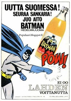 """As a Serious BATMAN Collector I go completely goo-goo over """"Food Products"""", ha ha! Book And Magazine, Magazine Ads, Vintage Ads, Vintage Posters, Old Commercials, Old Advertisements, Advertising, Good Old Times, Poster Ads"""