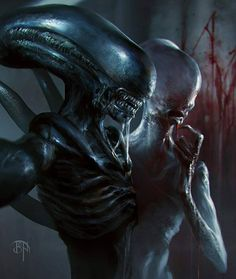 Xenomorph and Neomorph from Alien Covenant
