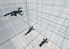 Visitors could suspend themselves within a 3D grid of ropes inside this inflatable installation