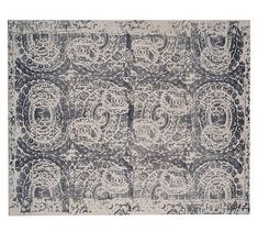 Bosworth Printed Wool Rug - Gray #potterybarn 10' x 14' under dining room table