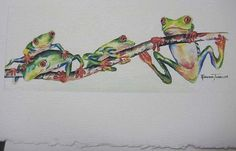 Red eye tree frog Frogs 5 x 7 blank Note by watercolorsNmore, $3.50