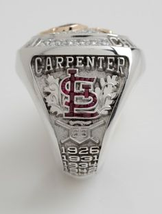"""St. Louis Cardinals 2011 World Series Rings has """"Rally Squirrel"""" running across home plate on ring. Now THAT'S too cool..."""