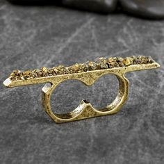 DESTRUCTION DOUBLE PYRITE Bar Ring by ChristinaRoseJewelry on Etsy