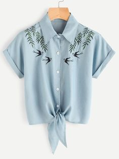 Shop Tie Front Swallows Embroidered Denim Shirt online. SheIn offers Tie Front Swallows Embroidered Denim Shirt & more to fit your fashionable needs.