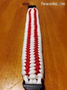 The curve ball survival bracelet tied by Amy Hatch  http://www.paracordist.com/the-curve-ball-paracord-ladder-rack-bracelet/