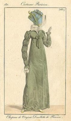 1811 Costume Parisien fashion plate... Slashed and puffed sleeves of the Renaissance make a reappearance in the early Romantic period.
