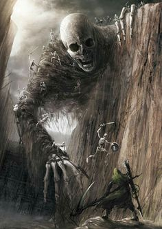Gigantic skeleton (death?) reaching for a warrior.