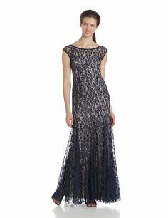 Adrianna Papell Women's Cap Sleeve Lace Beaded Dress, Navy, 6