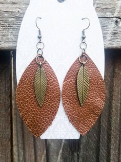 Brown Leaf and Feather Leather Earrings with Brass Feather