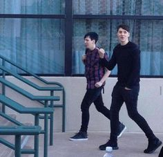 You're going up the stairs? Who are you and what have you done with Dan and Phil? @danisnotonfire @AmazingPhil