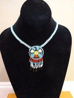 Vintage NATIVE AMERICAN Seed Bead Tribal THUNDERBIRD Medallion NECKLACE